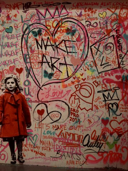 A heartfully tagged wall at Rachel Clark's Street HeArts Valentine Show